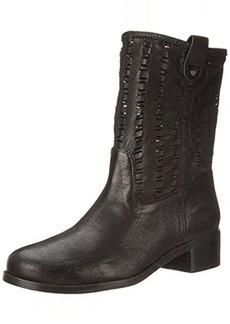 Delman Women's D-Merci-G Boot, Black Washed Goatskin/Perforated Goatskin, 6 M US