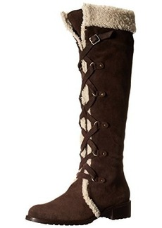 Delman Women's D-Strut-SS Slouch Boot, Dark Brown Suede/Off-White Merino Shearling, 7 M US