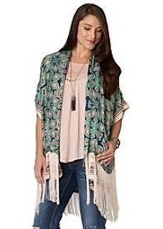 Democracy Kimono With Fringe Border