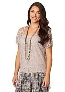 Democracy Short Sleeve Crochet Fringe Top
