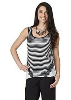Democracy Striped High Lo Tank With Lace