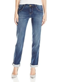 Democracy Women's 32 Inch 15 Inch Patriot Straight Leg Jean with Terry Back
