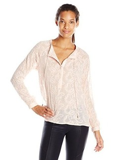 Democracy Women's All Over Embroidered Woven Peasant Blouse