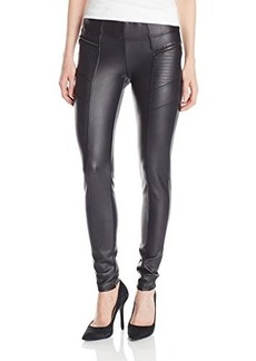 Democracy Women's Coated Ponte Legging with Zippers and Moto Stitching