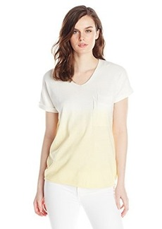 Democracy Women's Dip Dye V Neck Sweater with Double Pocket