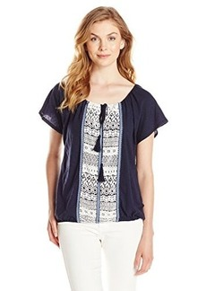 Democracy Women's Embroidered Front Back Banded Bottom Knit Peasant Top