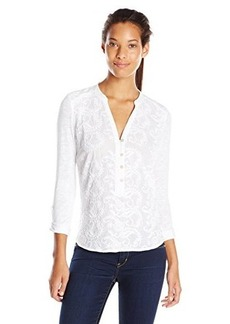 Democracy Women's Embroidered Woven Shirt with Knit Back and Roll Tab Sleeves