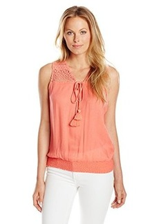 Democracy Women's Embroidered Woven V-Neck Tank with Ruched Elastic Waist