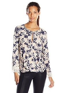 Democracy Women's Floral-Printed Woven Blouse with Lace Trim