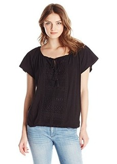 Democracy Women's Knit Bubble Hem Top with Front and Back Crochet Placket