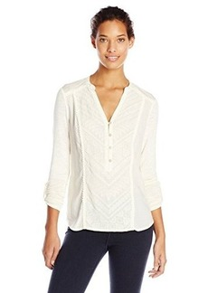 Democracy Women's Knit Woven Blouse with Roll Tab Sleeves and Front Embroidery