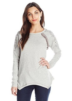 Democracy Women's Long Sleeve Knit French Terry Shirt with Dyecut and Fringe