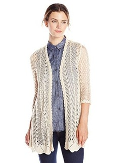 Democracy Women's Open Weave Sweater with Woven Back