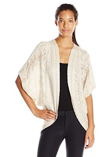 Democracy Women's Open Work Sweater Cover Up with Back Crochet Insert