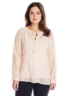 Democracy Women's Plus-Size All Over Embroidered Woven Peasant Blouse