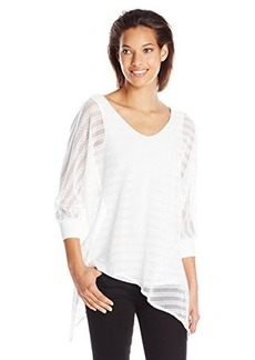 Democracy Women's Plus-Size Mesh Asymmetrical Blouse with Knit Cami