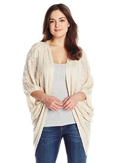 Democracy Women's Plus-Size Open Work Sweater Cover Up with Back Crochet Insert