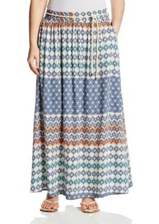 Democracy Women's Plus-Size Plus Woven Printed Maxi Skirt Rope Belt