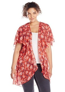 Democracy Women's Plus-Size Printed Woven Flutter Sleeve Duster with V Back