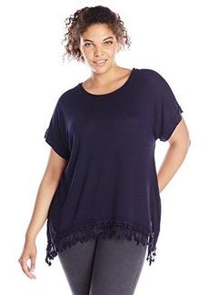 Democracy Women's Plus-Size Speckled Knit Short Sleeve Top with Chandelier Hem