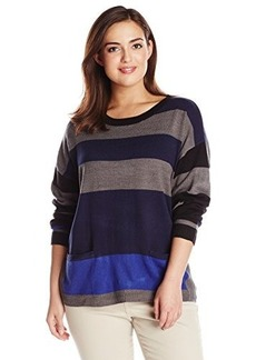 Democracy Women's Plus-Size Striped Crew Neck Sweater