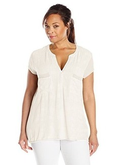 Democracy Women's Plus-Size Textured Woven Front Shirt with Ribbed Knit Sleeves