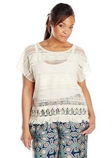 Democracy Women's Plus-Size Tiered Woven Short Sleeve Crochet Top