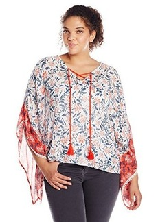 Democracy Women's Plus-Size V Neck Floral Printed Woven Poncho