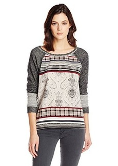 Democracy Women's Printed Woven Front and Back Shirt with French Terry Sleeves