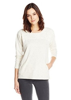 Democracy Women's Speckled French Terry Sweatshirt with Lace Yoke