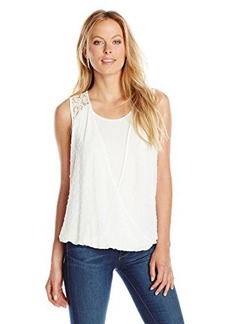 Democracy Women's Swiss Dot Woven Envelope Twofer with Knit Tank and Lace