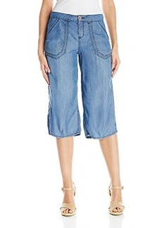 Democracy Women's Tencel Culotte with Self Belt and Roll Tab Detail