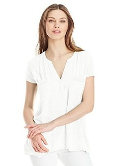 Democracy Women's Textured Woven Front Shirt with Ribbed Knit Sleeves