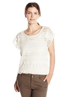 Democracy Women's Tiered Woven Short Sleeve Crochet Top with Fringe Hem