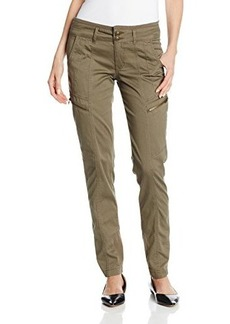 Democracy Women's Twill Pant with Cargo Zipper Pockets and Rib Insets