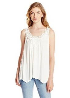Democracy Women's V Neck Printed Woven Poncho with Lace Closure