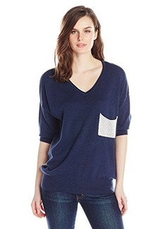 Democracy Women's V Neck Sweater with Mesh Pocket and Back