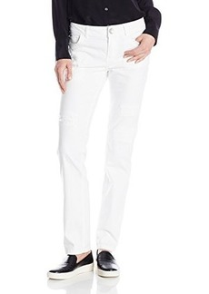 Democracy Women's White Patriot Straight Leg Denim with Destruction