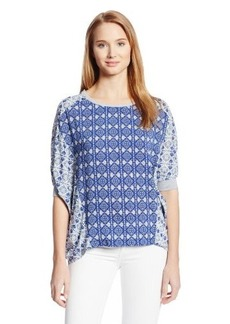 Democracy Women's Woven Blouse With Contrast Knit