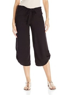 Democracy Women's Woven Culotte with Self Belt and Roll Tab Detail