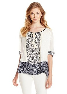 Democracy Women's Woven Knit Peasant Top with Floral Printed Placket and Hem