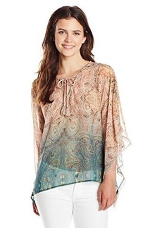 Democracy Women's Woven Paisley Print Caftan Top with Tassels
