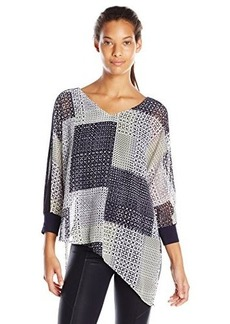 Democracy Women's Woven Patchwork Print Assymetrcial Blouse with Knit Cami