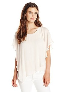 Democracy Women's Woven Top with Bias Hem and Layered Knit Tank