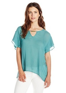 Democracy Women's Woven Top with Flutter Sleeves and Embellished Neckline