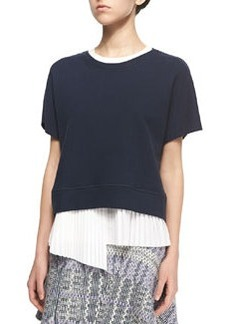 2-in-1 Sweater with Asymmetric Pleated Underpinning   2-in-1 Sweater with Asymmetric Pleated Underpinning