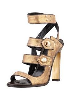 Derek Lam Beatrice Snakeskin Strappy Sandal, Bronze