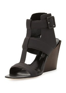 Campbell Ankle-Wrap Wedge Sandal, Black   Campbell Ankle-Wrap Wedge Sandal, Black
