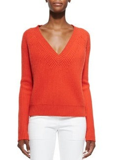Cashmere V-Neck Cable-Knit Sweater   Cashmere V-Neck Cable-Knit Sweater