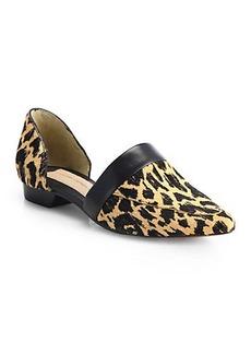 Derek Lam 10 Crosby Amaris Leopard-Print Calf Hair D'Orsay Flats